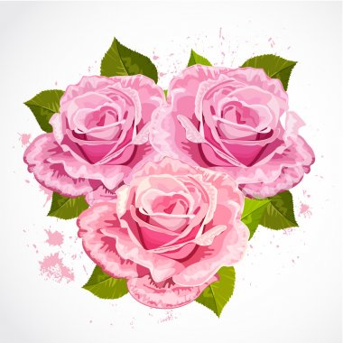 Bouquet of roses in a retro design clip art vector
