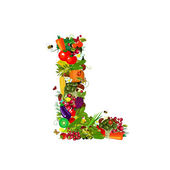 Fresh vegetables and fruits letter L