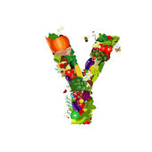 Fresh vegetables and fruits letter Y