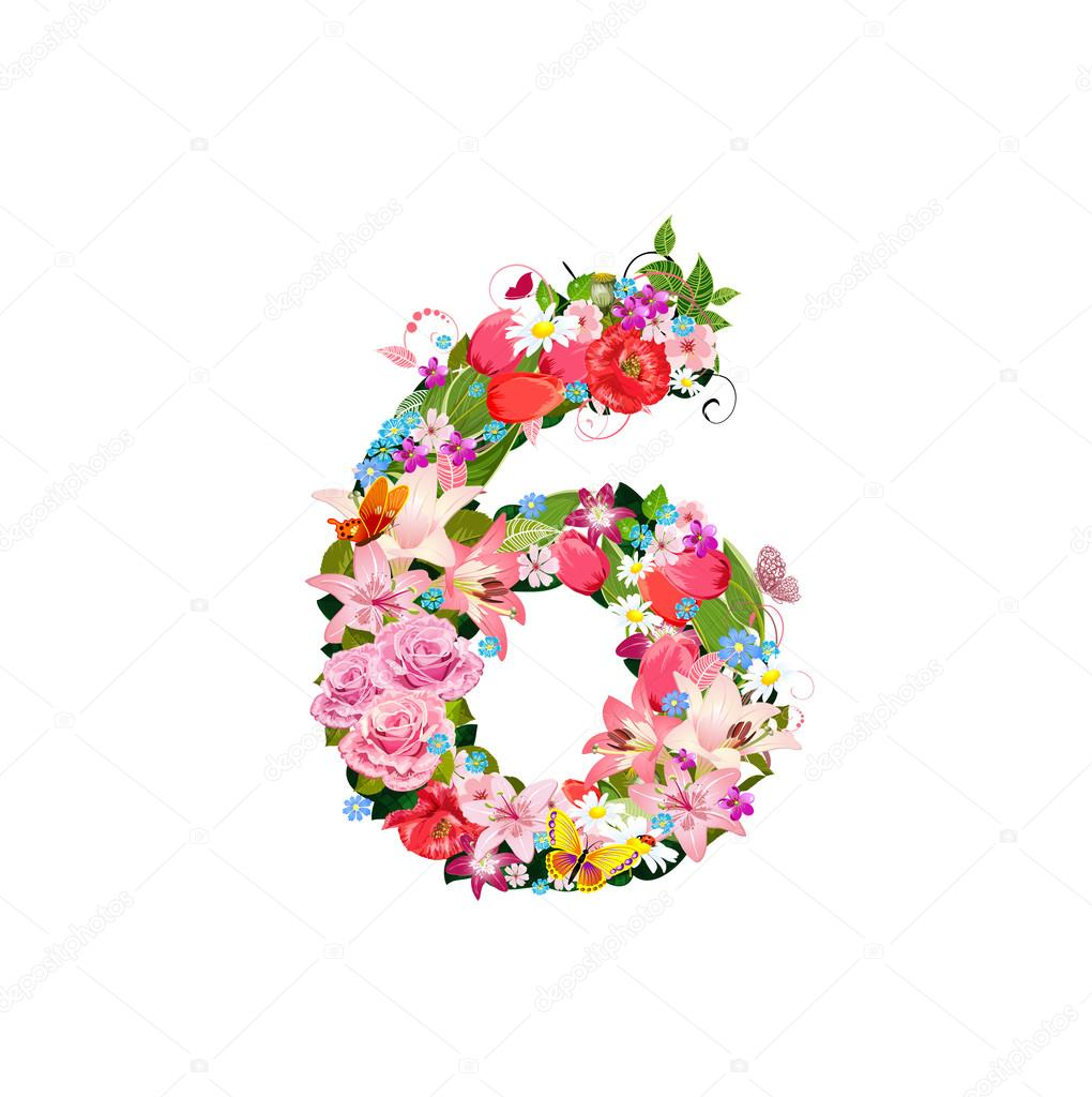 romantic number of beautiful flowers 6 stock vector oksana 27413275. Black Bedroom Furniture Sets. Home Design Ideas