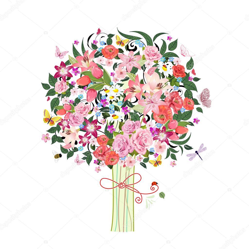 Belles Fleurs D Arbres Festive Romantique Image Vectorielle Oksana