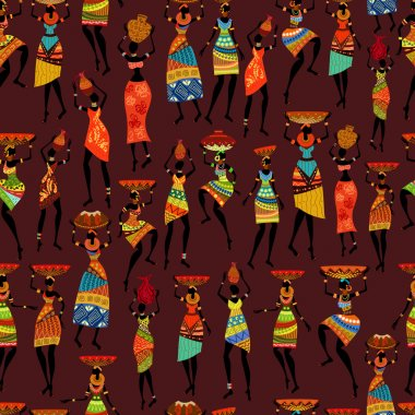 Seamless texture with African women
