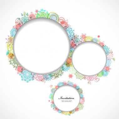 Round floral frame for your design