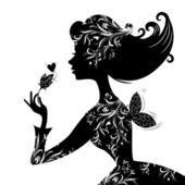 Fényképek Sziluettjét egy szép elegáns nő