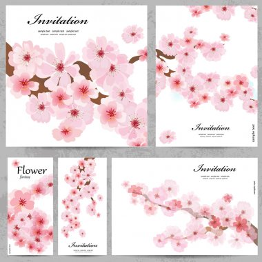 Set of floral cards for your design stock vector