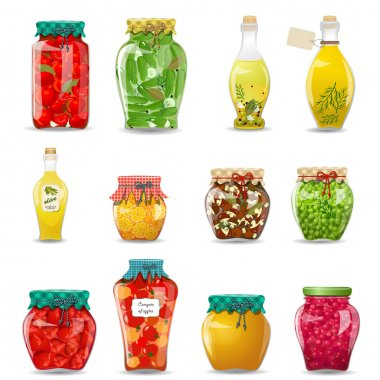 Set of glass jars with preserved vegetables, mushrooms, fruit and honey