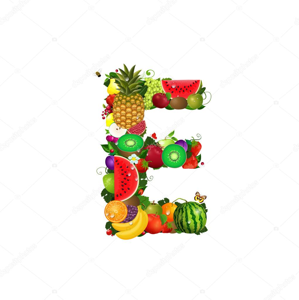 letter of juicy fruit e stock vector