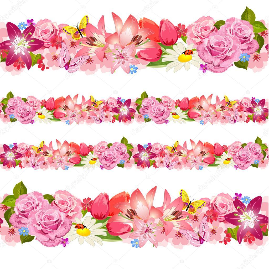 Áˆ Flower Borders Clip Art Stock Drawings Royalty Free Flower Border Design Images Download On Depositphotos