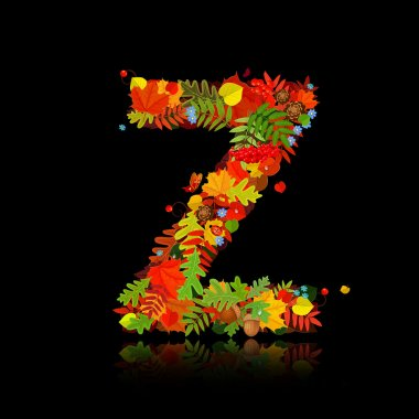 Beautiful autumn leaves. letter z