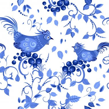 Texture with stylized flowers and birds
