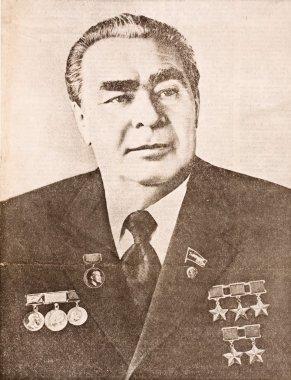 Moscow, USSR - November 1982. Portrait of Leonid Ilyich Brezhnev in newspaper