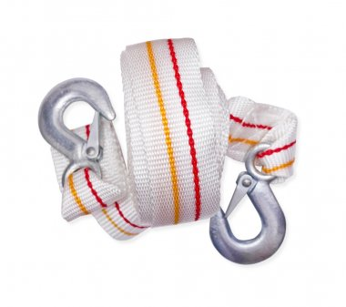 towing rope with metal hooks isolated on a white background