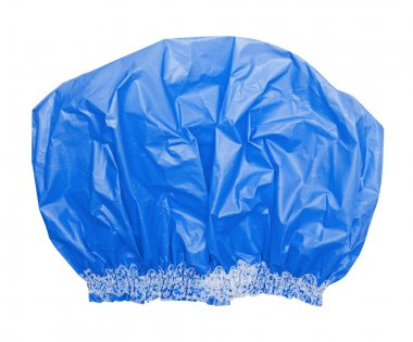 Bright blue shower cap on the white