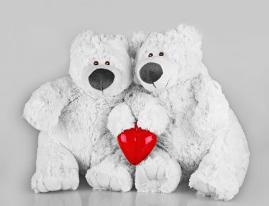 Teddy bears with red heart
