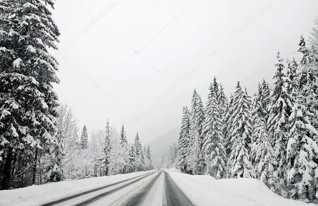 Winter mountain road, Austria, Kirhberg. Tirol