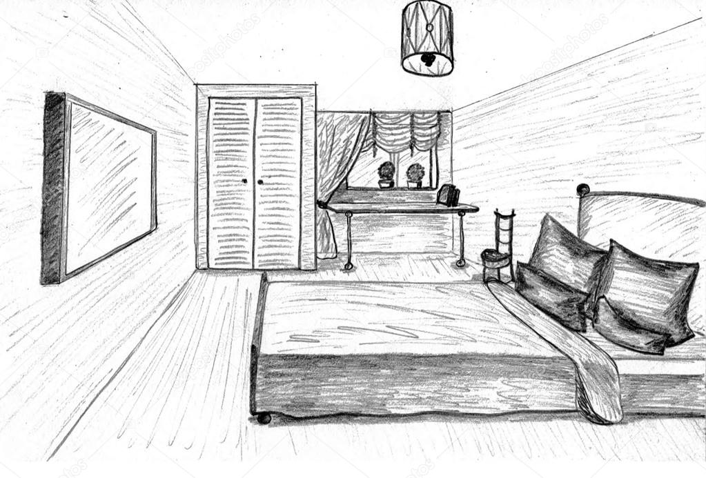Dibujo gr fico de una habitaci n interior foto de stock for Cuarto para colorear