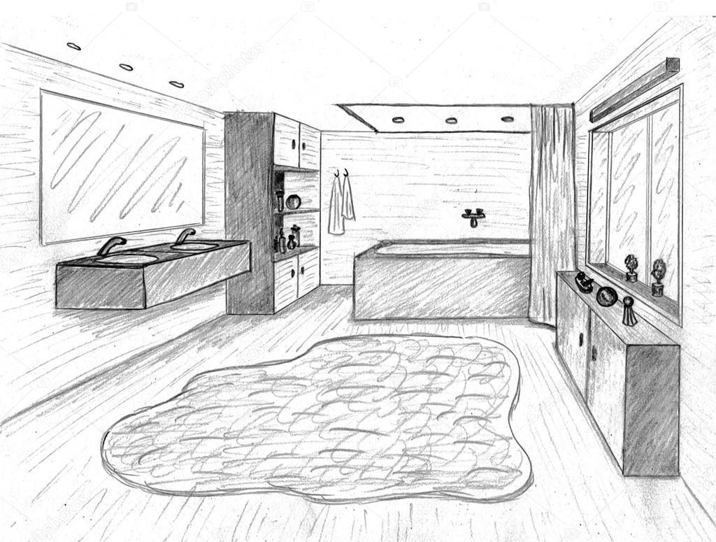 Dibujo gr fico de un cuarto de ba o interior foto de for Programa para crear habitaciones 3d