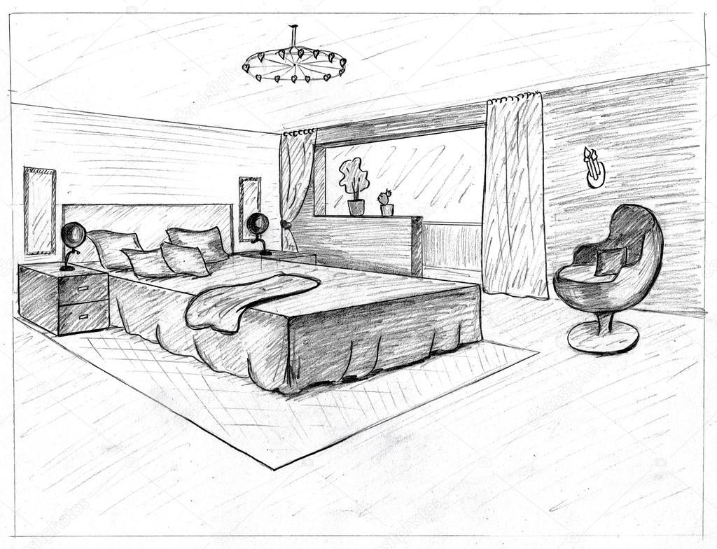 Skizze aus einer inneren Schlafzimmer — Stockfoto #28020025