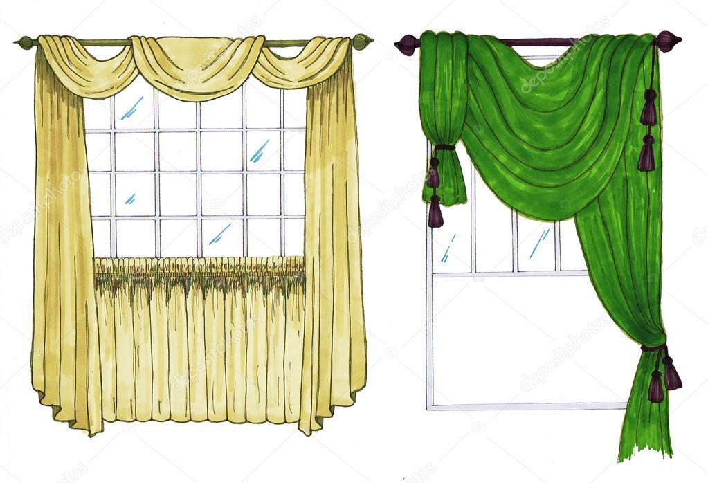 boceto grafico cortinas cortina diseo marcadores u foto de stock