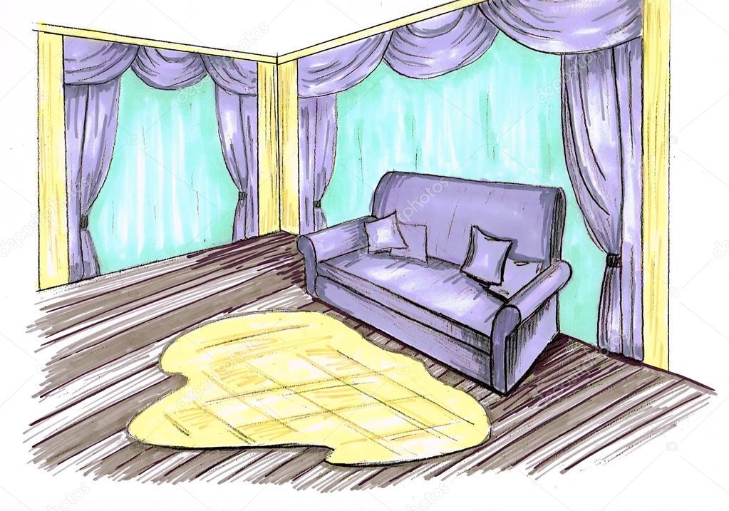 Grafische Skizze Wohnzimmer Design Marken Stockfoto Irogova