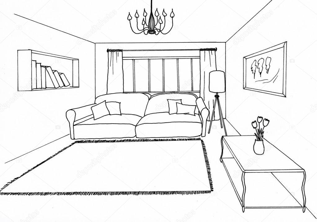Dibujo gr fico sala de estar foto de stock irogova for Sala de estar dibujo