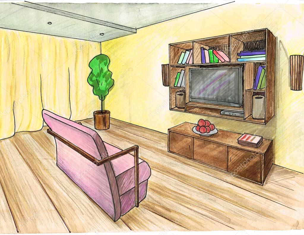 Graphic sketch living room water color stock photo for 3d room color design