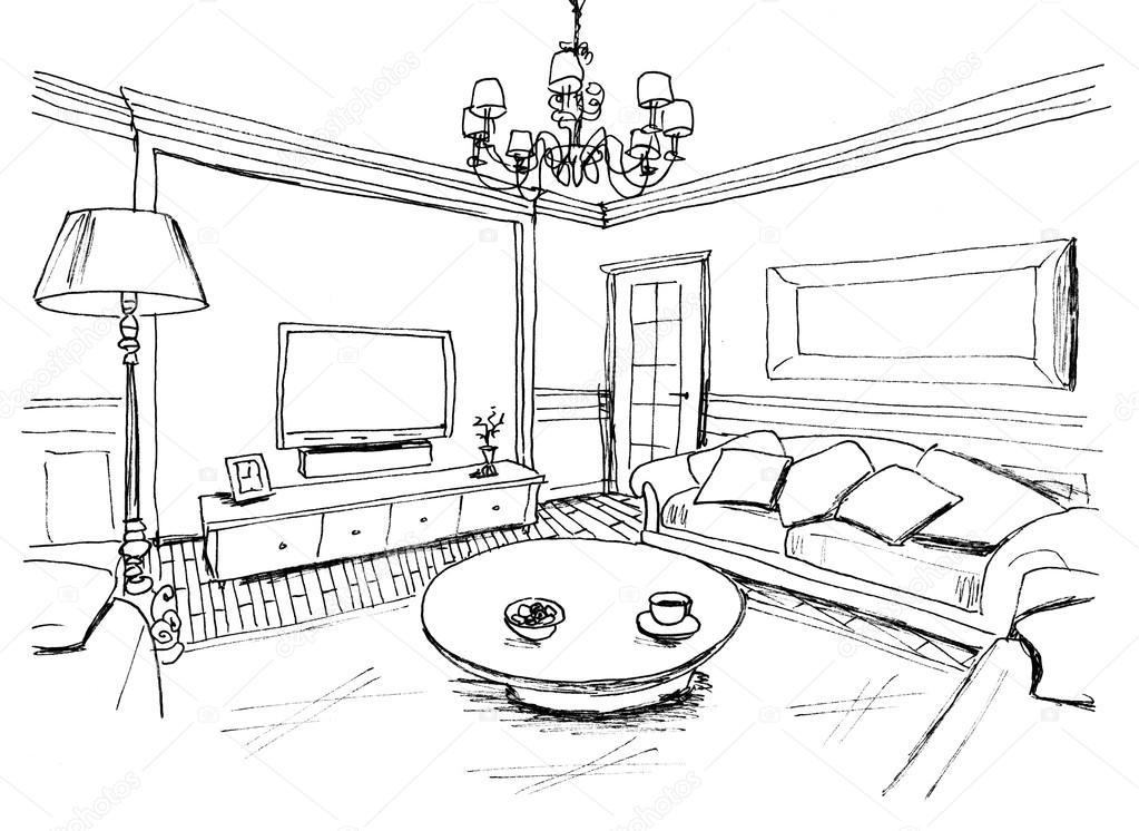 graphical sketch of an interior living room  liner  u2014 stock photo  u00a9 irogova  28022203