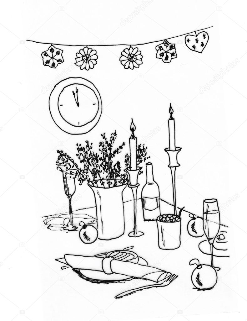 grafische Skizze, Weihnachten-Tabelle — Stockfoto © irogova #28023427