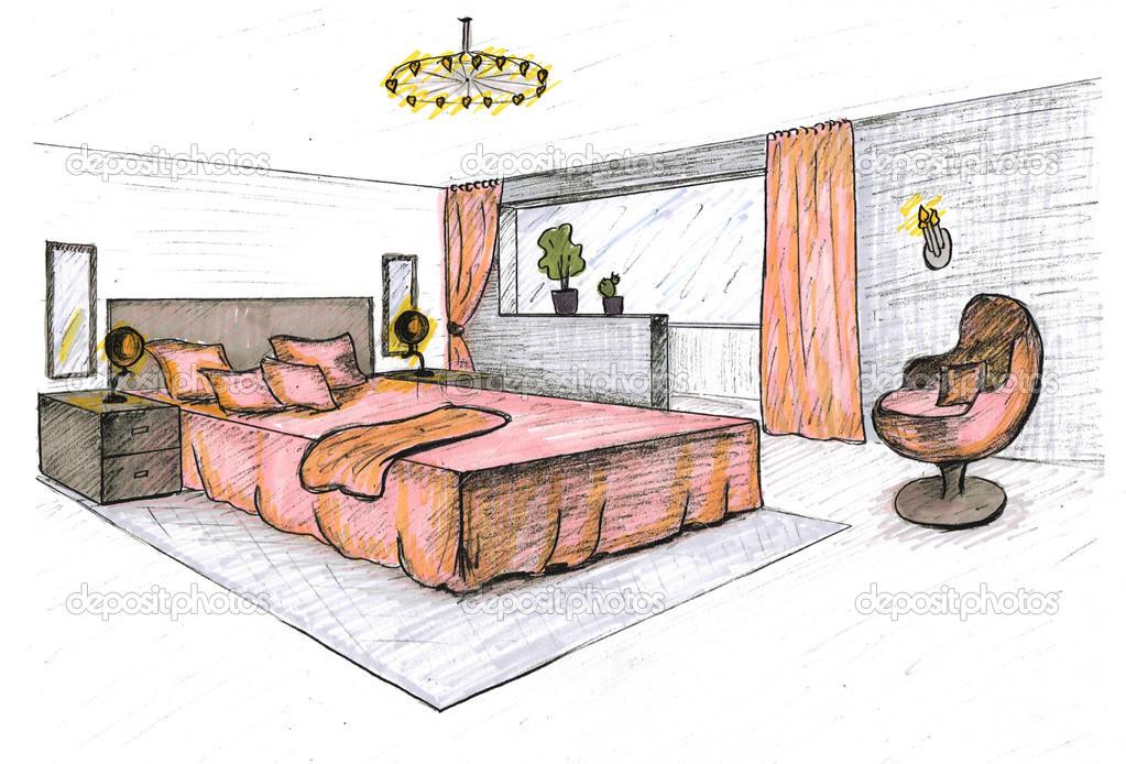 Dibujo gr fico de una habitaci n interior fotos de stock - Dibujo habitacion infantil ...