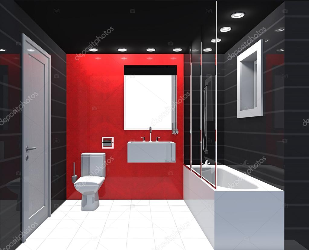 Modern Luxury Bathroom Red Black White Interior. U2014 Stock Photo