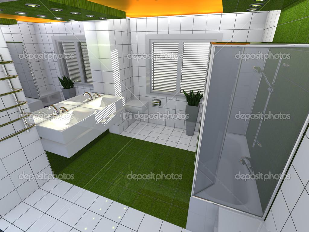 luxe moderne salle de bain jaune vert blanc interio — Photographie ...