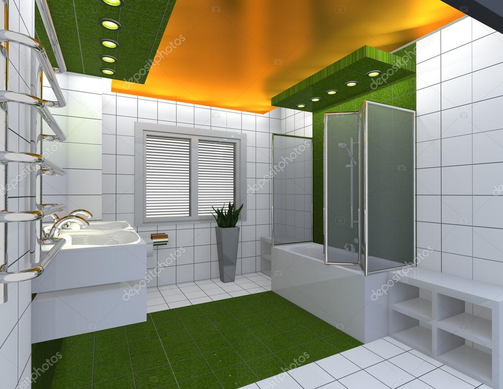 Moderne Und Luxuriöse Badezimmer Gelb Grün Weiß Interio U2014 Stockfoto  #28027917