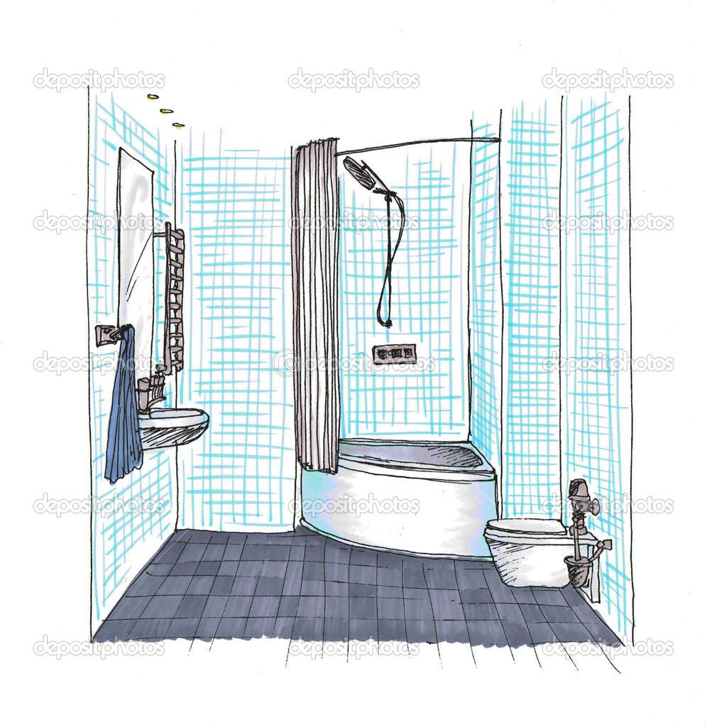 Graphic Sketch A Bathroom Stock Photo Irogova 28028121