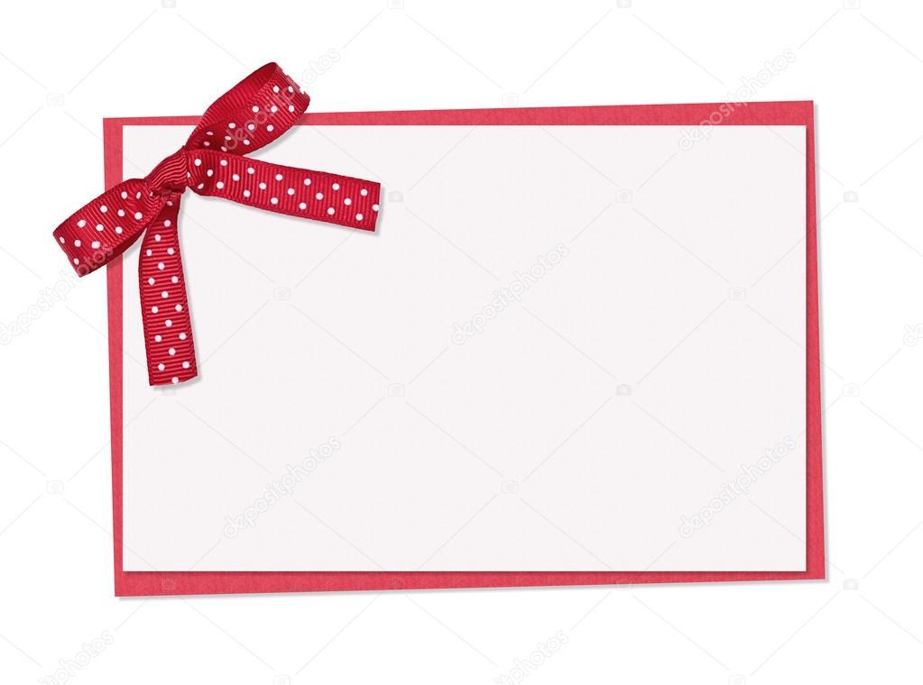 Tarjeta con lunares | arco, cinta y tarjeta de lunares rojos y ...