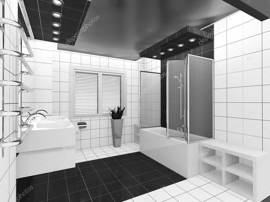 salle de bain noir blanc — Photographie irogova © #28870203
