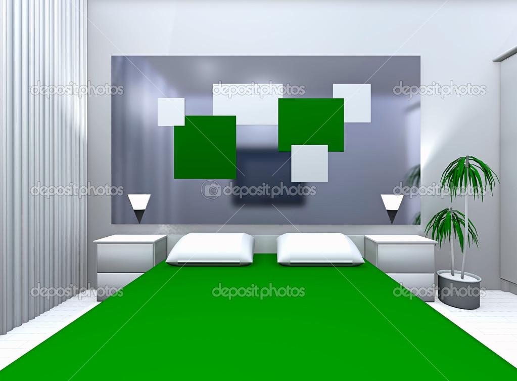 Slaapkamer Groen Grijs : Grijs groene slaapkamer u2014 stockfoto © irogova #35414073