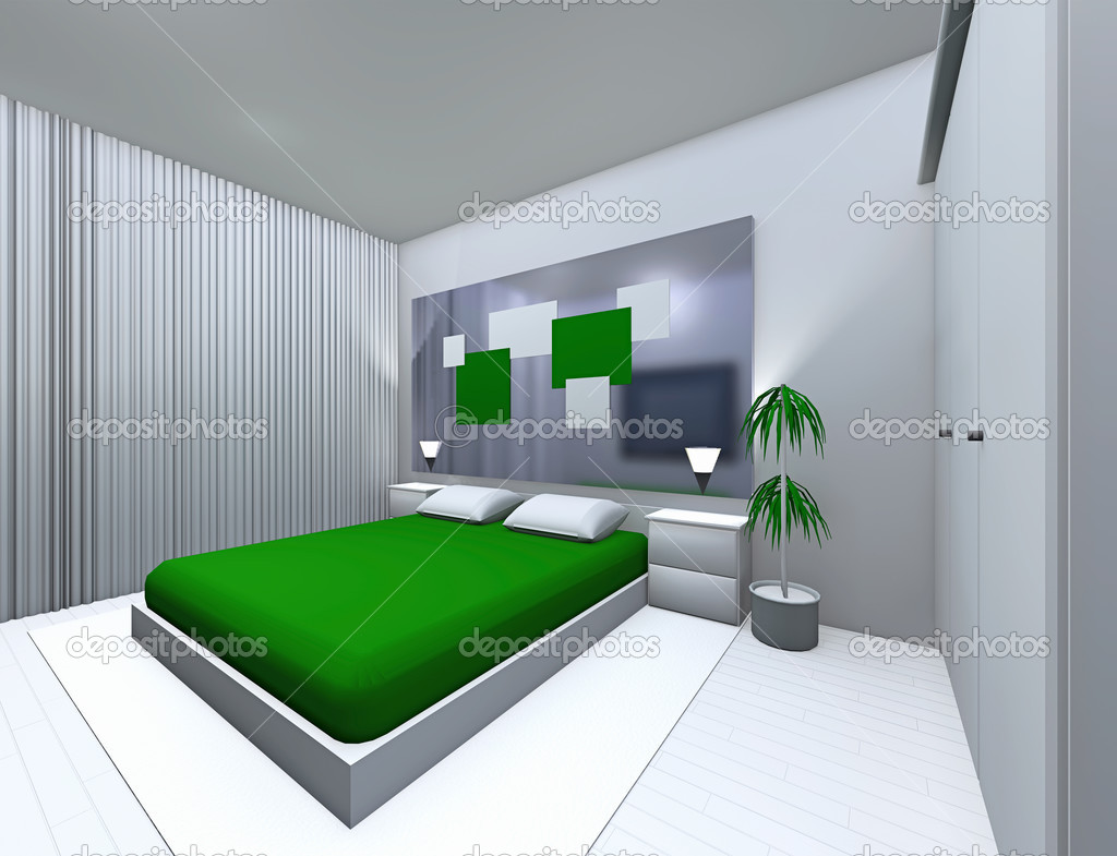 grijs-groene slaapkamer — Stockfoto © irogova #35414093