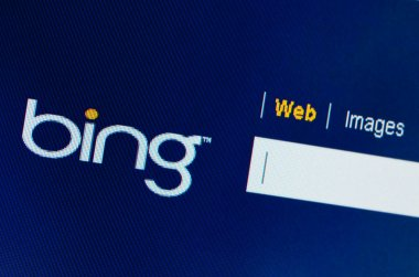 Bing search box on computer screen close-up