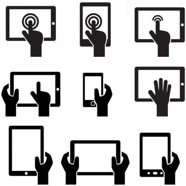 Icon set tablets and gadgets with touch-screen display held in hand stock vector