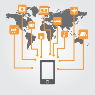 Smartphone with icons on the world map.