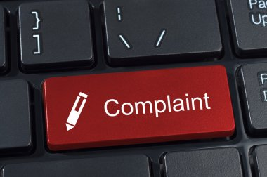 Complaint button keyboard with pen icon.
