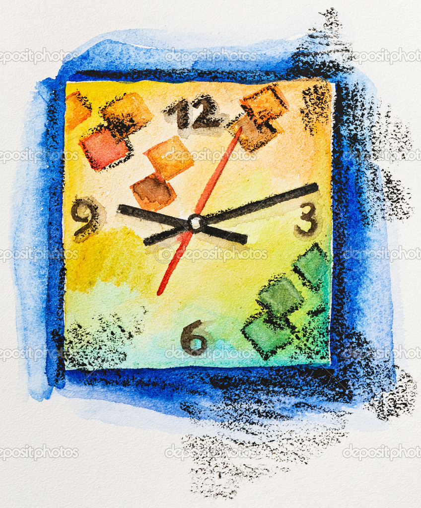 Modern square clock time concept, watercolor with slate-pencil p ...