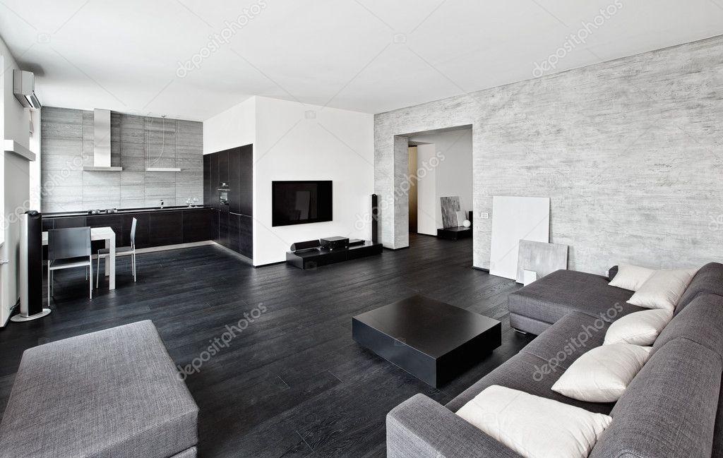 Salon interieur van de stijl van de moderne minimalisme in zwarte en