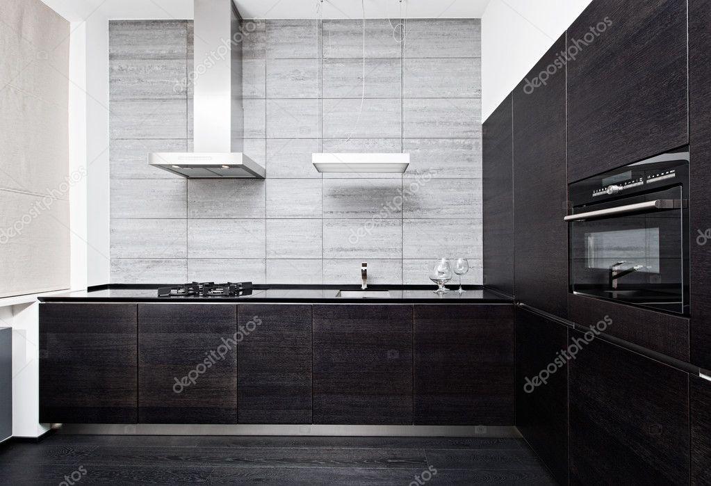 Deel van moderne minimalisme stijl keuken interieur in zwart wit
