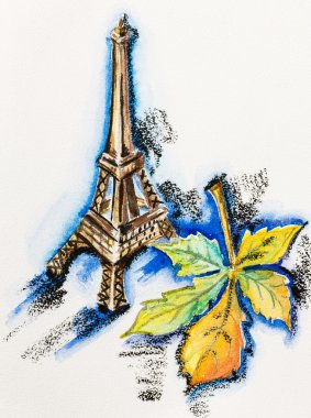 Eiffel Tower with chestnut leaf, watercolor with slate-pencil pa