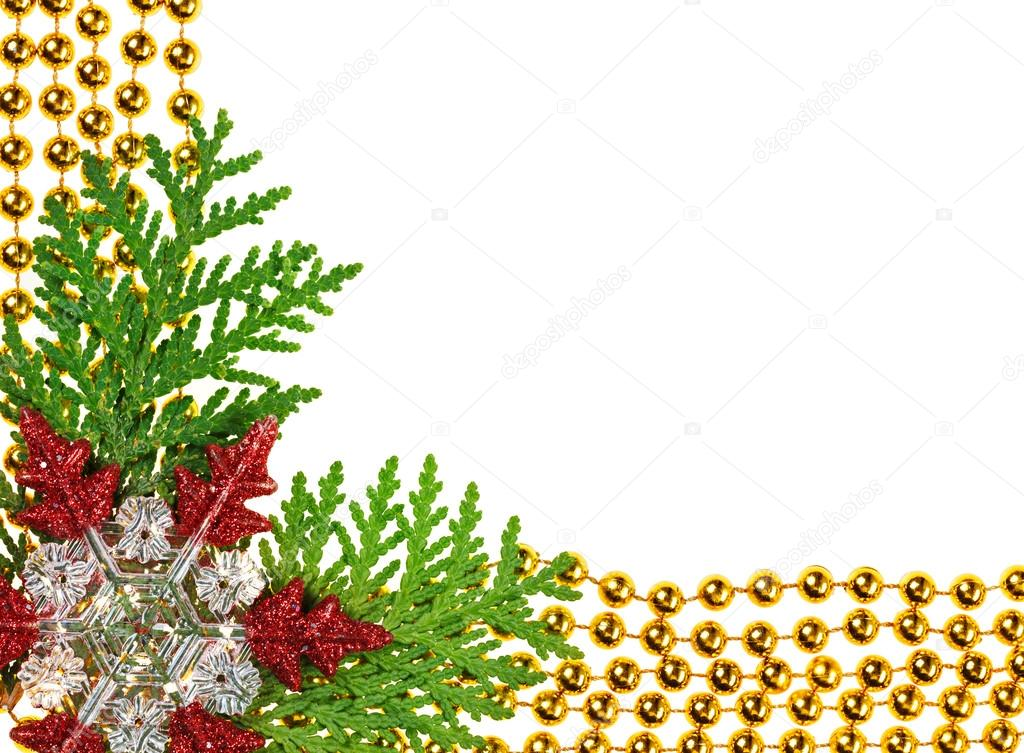 christmas beads garland decoration framework with thuja branch photo by mrhamster - Christmas Beaded Garland Decorations