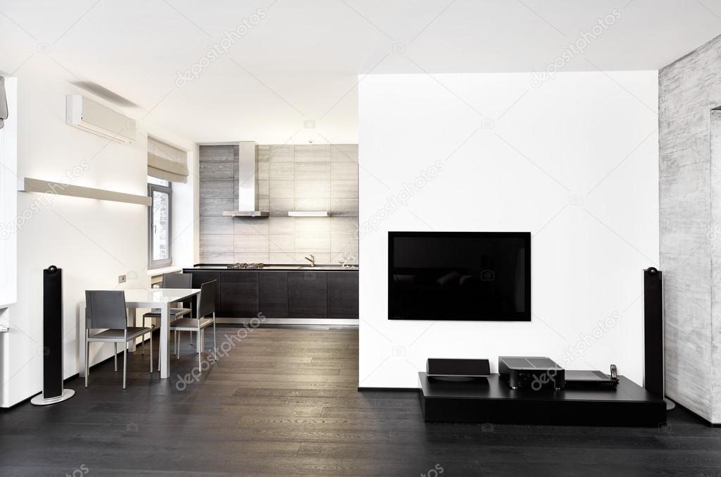 Moderne minimalisme stijl keuken en salon interieur in zwart wit