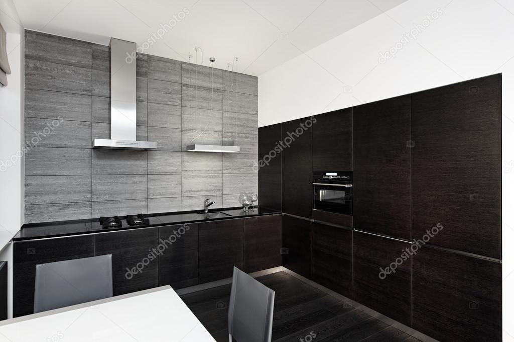 Interieur in moderne minimalisme stijl keuken in zwart wit tonen