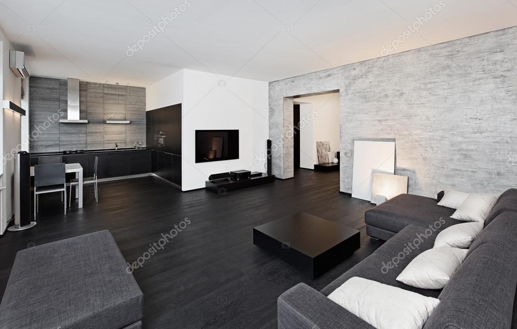 Salon interieur van de stijl van de moderne minimalisme in zwarte