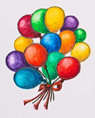Multicolored celebration balloons, watercolor with slate-pencil